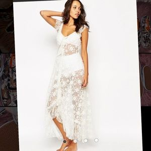 Free People Embroidered Mesh Flutter MaxiSlipDress